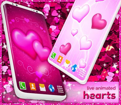 Pink Hearts Live Wallpaper ❤️ Heart Wallpapers screenshot 2
