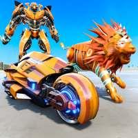 Lion Robot Transforming Games: Bike Robot Shooting on 9Apps
