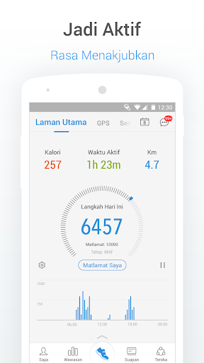 Pedometer - Penjejak Langkah, Kalori & Berat Badan screenshot 1