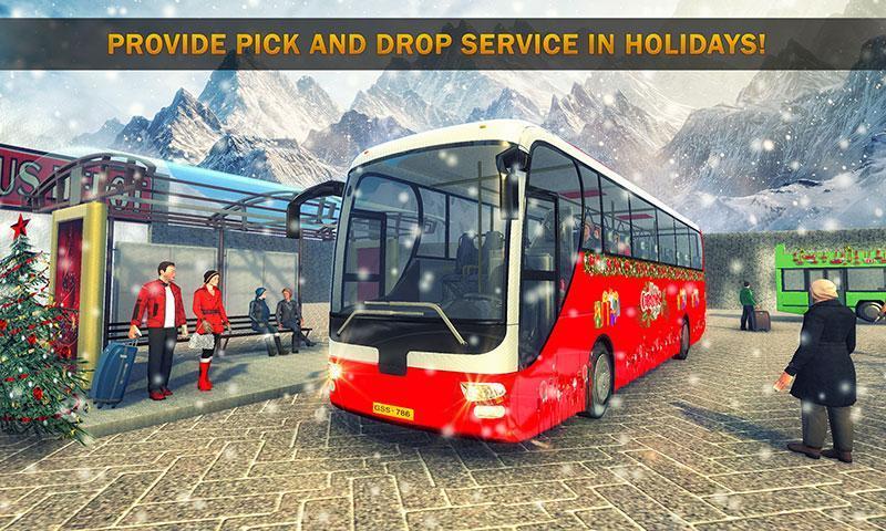 Uphill Bus Drive : Christmas Bus Simulator screenshot 2