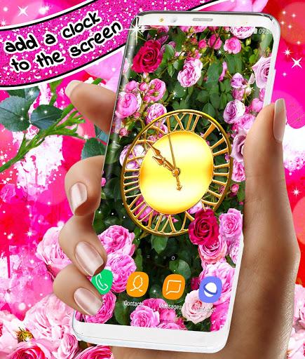 Spring Rose Live Wallpaper 🌹 Pastel Pink Themes screenshot 4