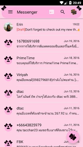 SMS Messages Ribbon Pink Black Theme emoji chat screenshot 3