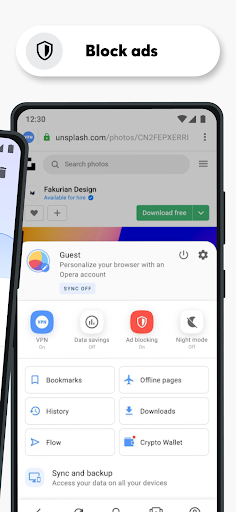 เบราว์เซอร์ Opera ที่มี VPN ฟรี screenshot 3