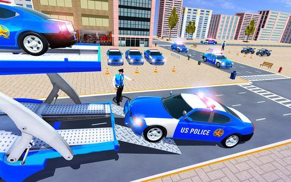 Us Police Car Transporter Truck Driving Simulator screenshot 3