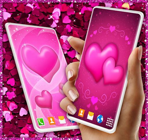 Pink Hearts Live Wallpaper ❤️ Heart Wallpapers screenshot 1