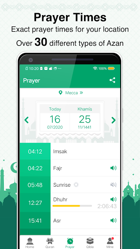 Muslim Prayer Times, Azan, Quran&Qibla By Vmuslim screenshot 3