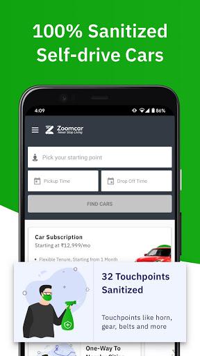 Zoomcar - Sanitized Self-drive car rental service screenshot 1