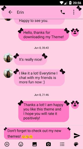 SMS Messages Ribbon Pink Black Theme emoji chat screenshot 2