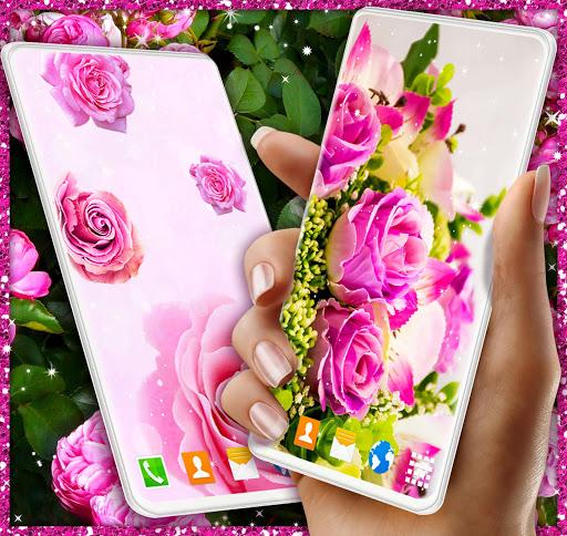 Spring Rose Live Wallpaper 🌹 Pastel Pink Themes screenshot 3