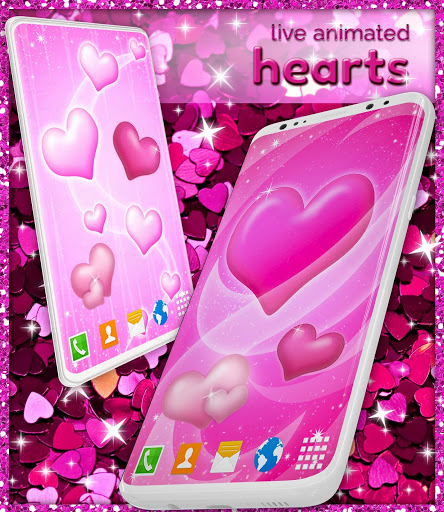 Pink Hearts Live Wallpaper ❤️ Heart Wallpapers screenshot 3