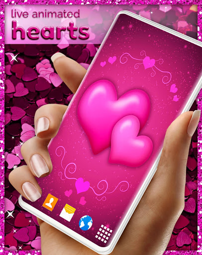 Pink Hearts Live Wallpaper ❤️ Heart Wallpapers screenshot 4