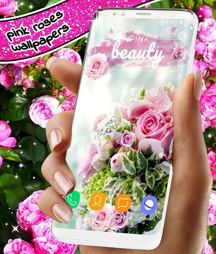 Spring Rose Live Wallpaper 🌹 Pastel Pink Themes screenshot 8