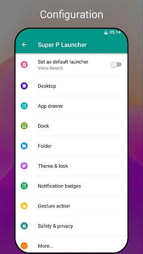 Super P Launcher for P 9.0 launcher, theme screenshot 6