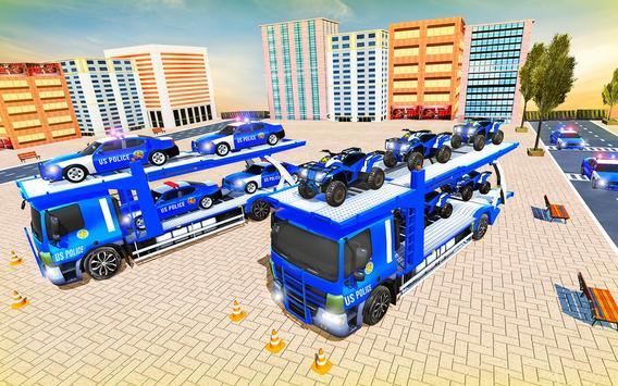 Us Police Car Transporter Truck Driving Simulator screenshot 4