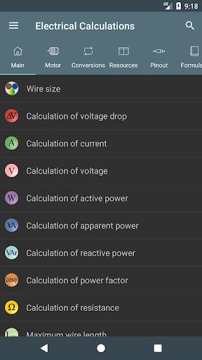 Electrical Calculations screenshot 1